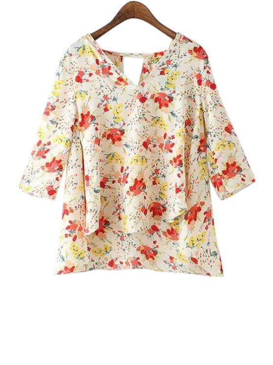 womens Floral Print Slit Asymmetrical Blouse - JACINTH S