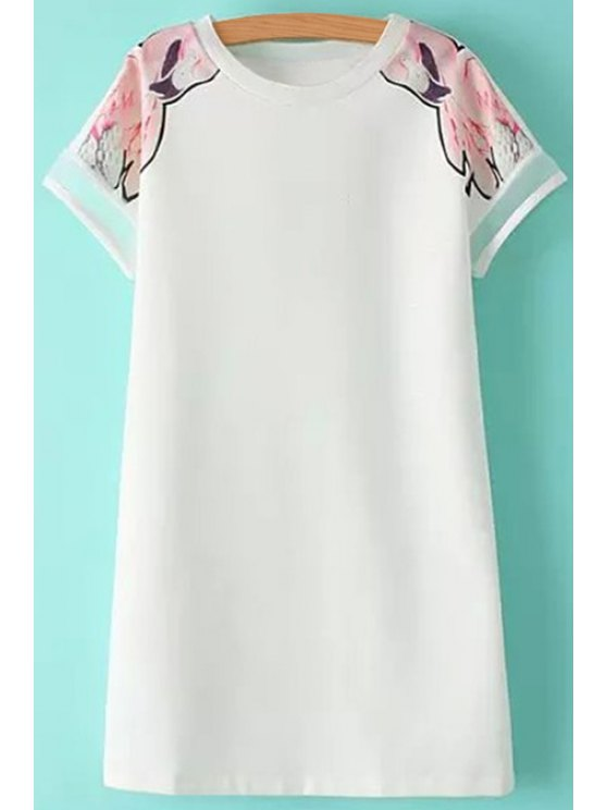 shops Print Voile Splicing Short Sleeve Dress - WHITE S