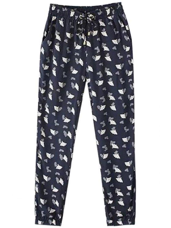 buy Fan Print Elastic Waist Pants - PURPLISH BLUE S