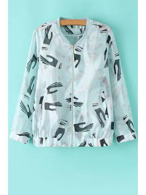 best Palms Print Long Sleeve Coat - WHITE AND BLACK S