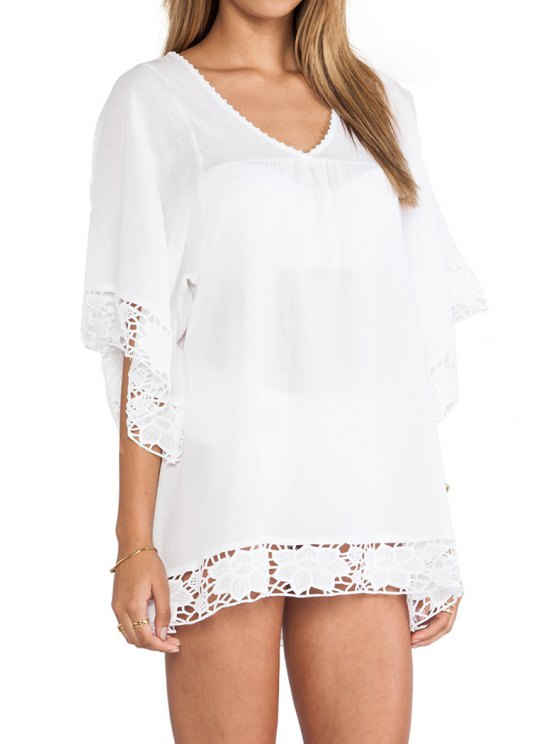 shop See-Through Lace Splicing Half Sleeve Dress - WHITE ONE SIZE(FIT SIZE XS TO M)