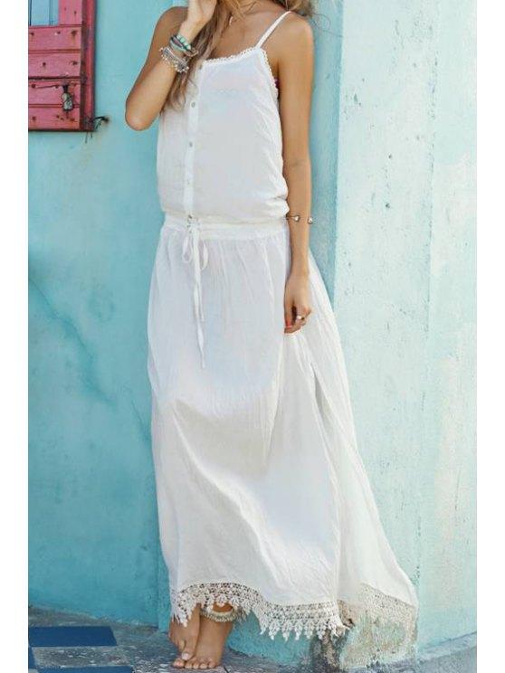 hot White Spaghetti Strap With Lace Maxi Dress - WHITE S