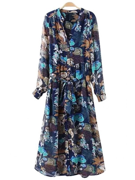 womens Floral V-Neck Chiffon Maxi Dress - PURPLISH BLUE S