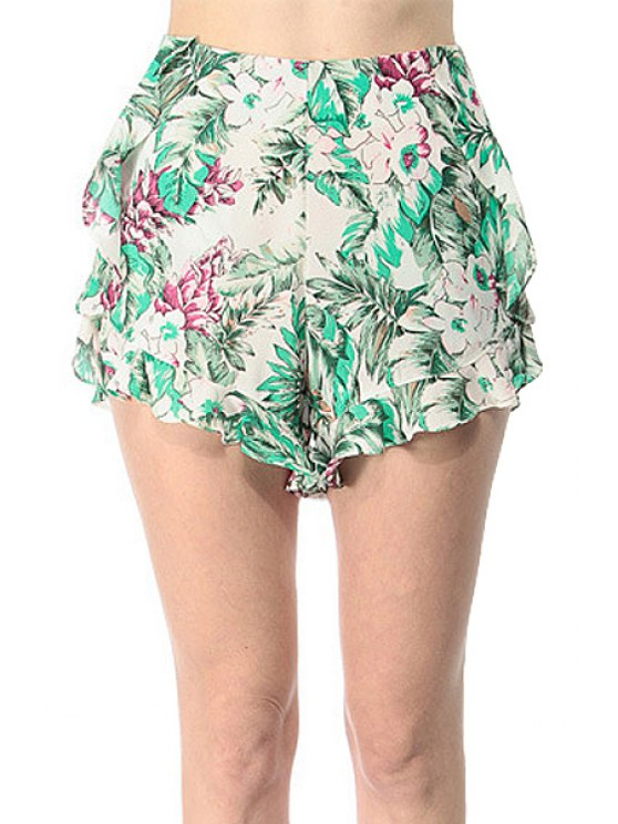 shop Floral Print Flounce Shorts - GREEN XS