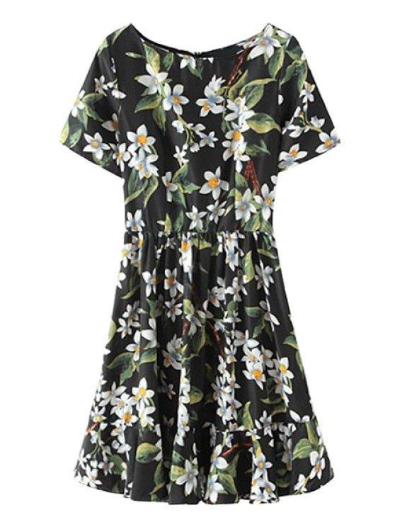 lady Floral Ruffles Short Sleeve Dress - BLACK S