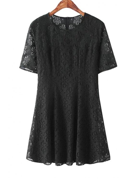 latest Lace Black Short Sleeve Dress - BLACK S