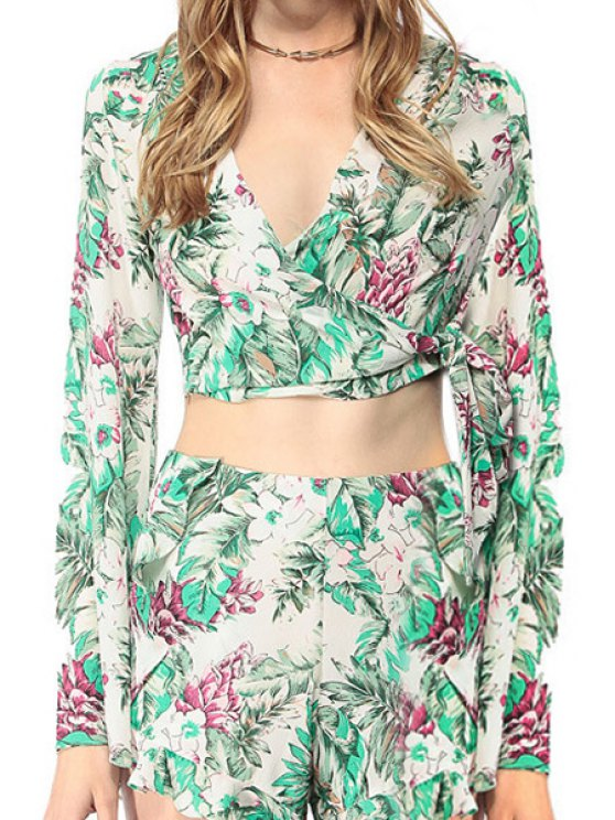fashion Floral Print Tie-Up Long Sleeve Crop Top - GREEN M