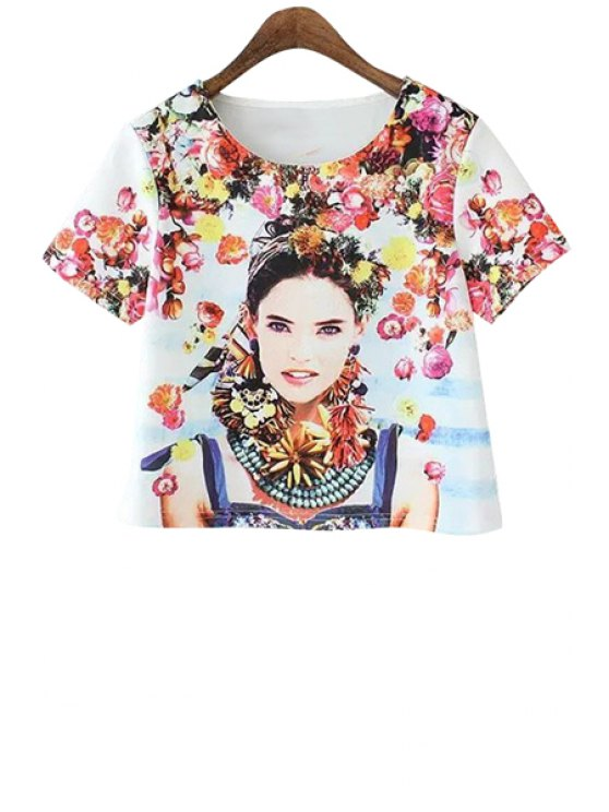 new Beauty Print Short Sleeve T-Shirt - JACINTH S