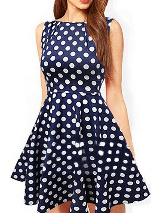 fancy Jewel Neck Polka Dot Dress - DEEP BLUE S