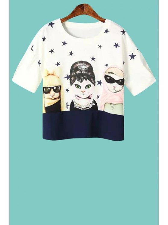 buy Cat and Star Short Sleeve T-Shirt - WHITE S