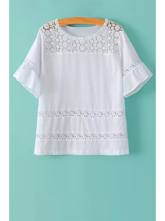 best Lace Spliced Short Sleeve T-Shirt - WHITE S