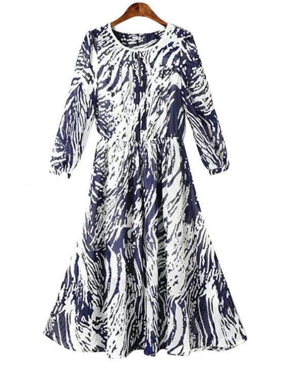 trendy Print 3/4 Sleeve A-Line Chiffon Dress - PURPLISH BLUE S