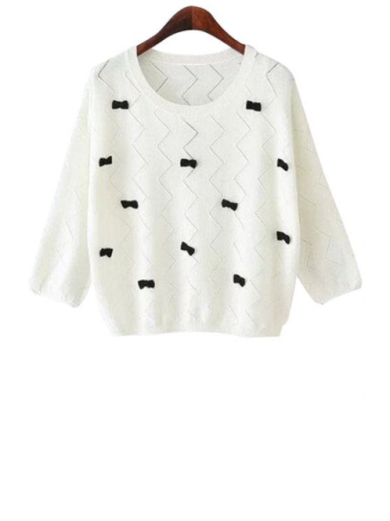 womens Bowknot Half Sleeve Knitwear - WHITE S