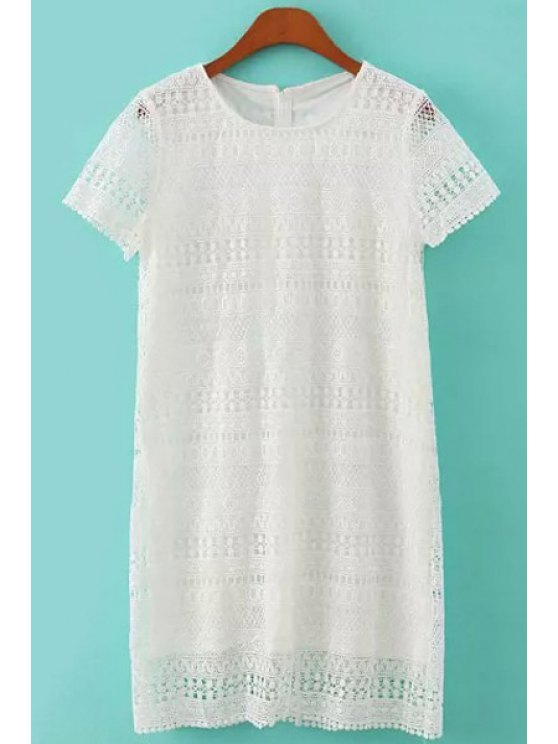 sale Short Sleeve White Lace Dress - WHITE S