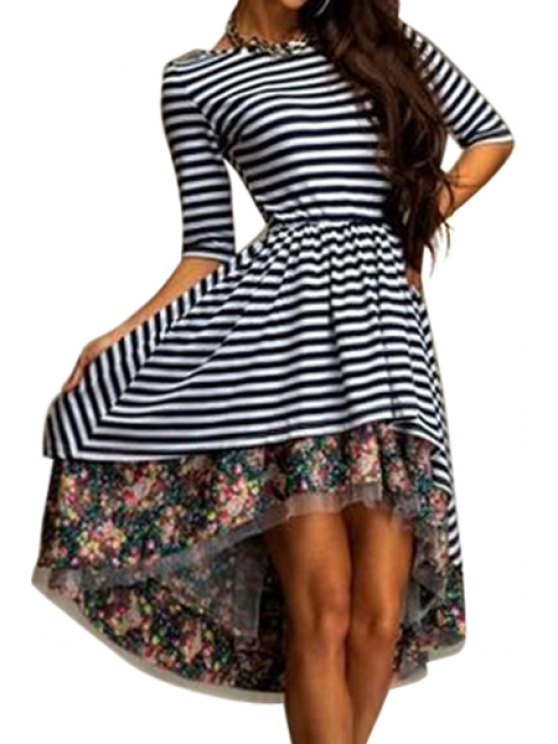 trendy Stripe Floral Print Splicing Half Sleeve Dress - WHITE AND BLACK S