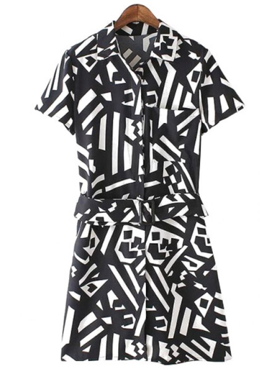 trendy Geometric Print Short Sleeve Dress - WHITE AND BLACK S