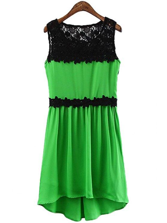best Lace Crochet Splicing Sundress - GREEN S