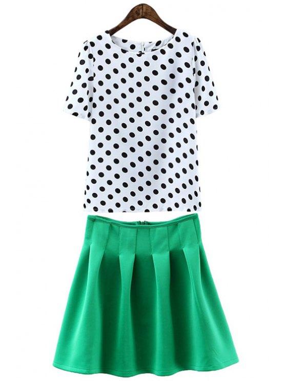sale Polka Dot Short Sleeve T-Shirt and Green Skirt Suit - GREEN S