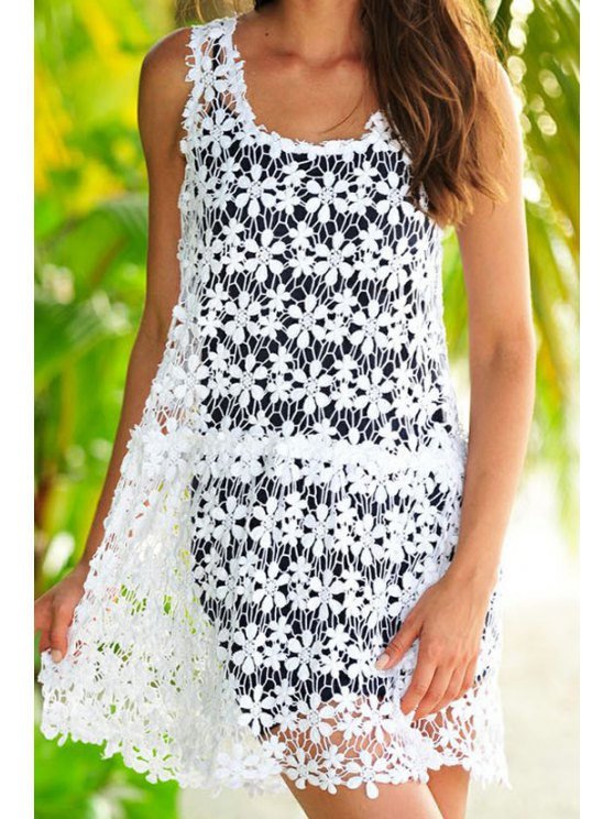 women's Solid Color Openwork Lace Twinset Dress - WHITE AND BLACK S
