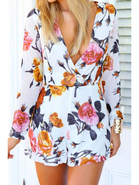 online Long Sleeve Floral Print Romper - WHITE S