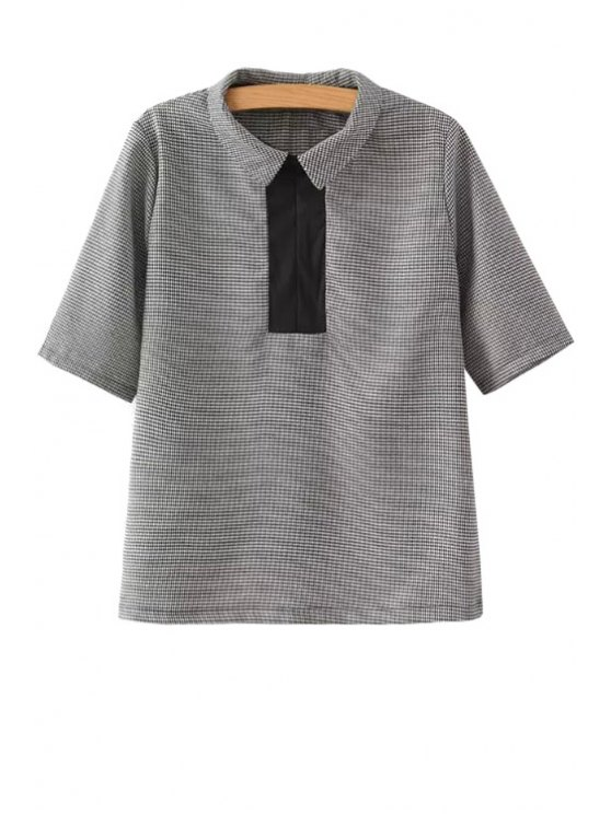 lady Houndstooth Pattern Short Sleeve Shirt - GRAY S