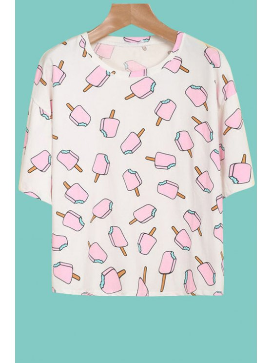 latest Ice Cream Print 3/4 Sleeve T-Shirt - PINK AND WHITE S