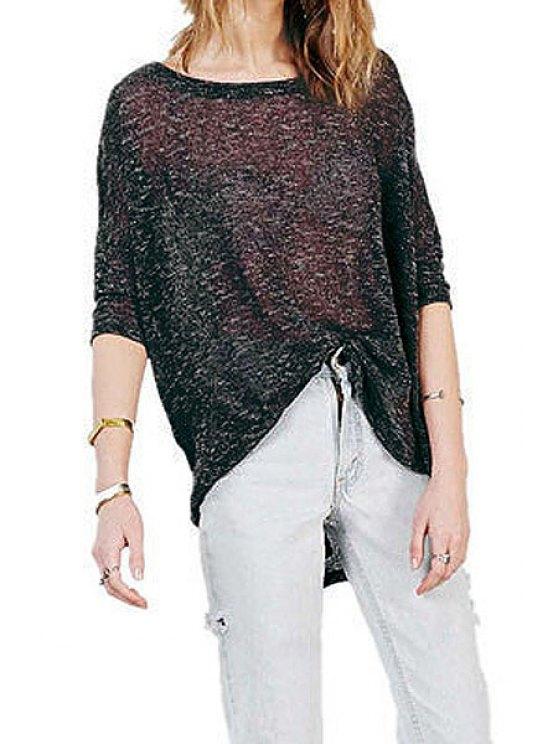 fancy Back Slit Half Sleeve T-Shirt - BLACK S