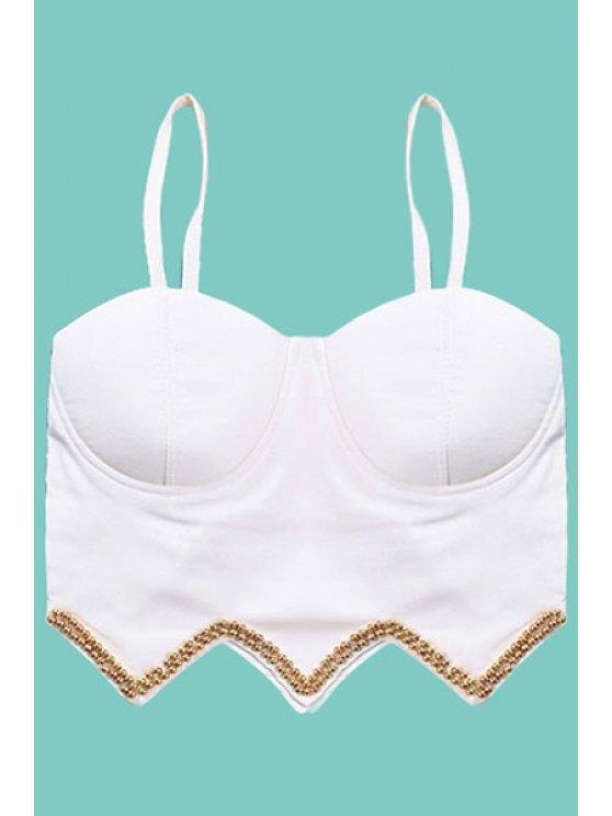 women Gold Bead Embellished Tank Top - WHITE S