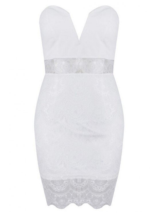 buy Strapless See-Through Lace Solid Color Dress - WHITE S