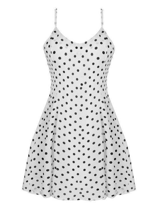 online Spaghetti Strap Polka Dot Sleeveless Dress - WHITE M