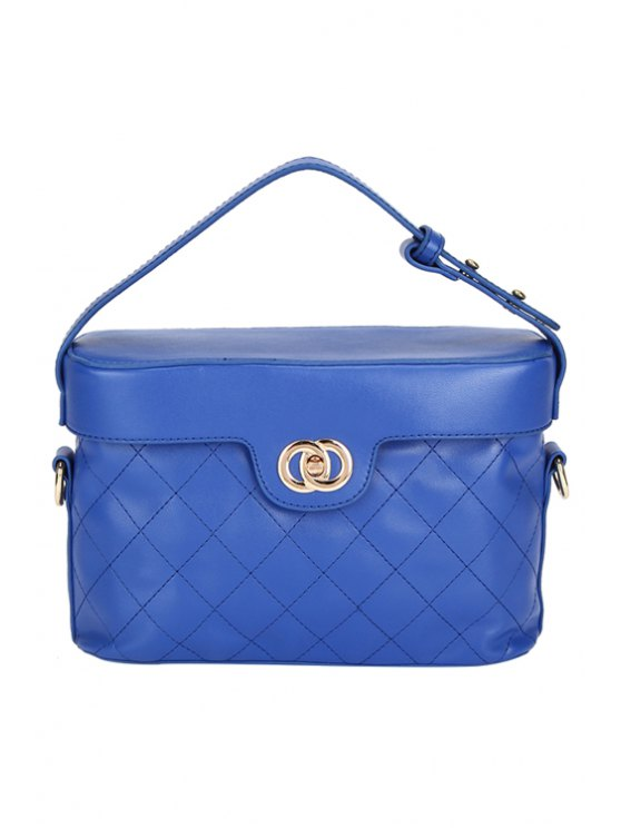 outfits Checked Hasp PU Leather Tote Bag - BLUE