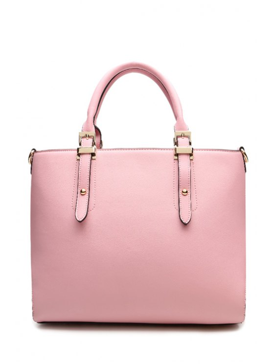 sale Candy Color Buckle Rivets Tote Bag - PINK