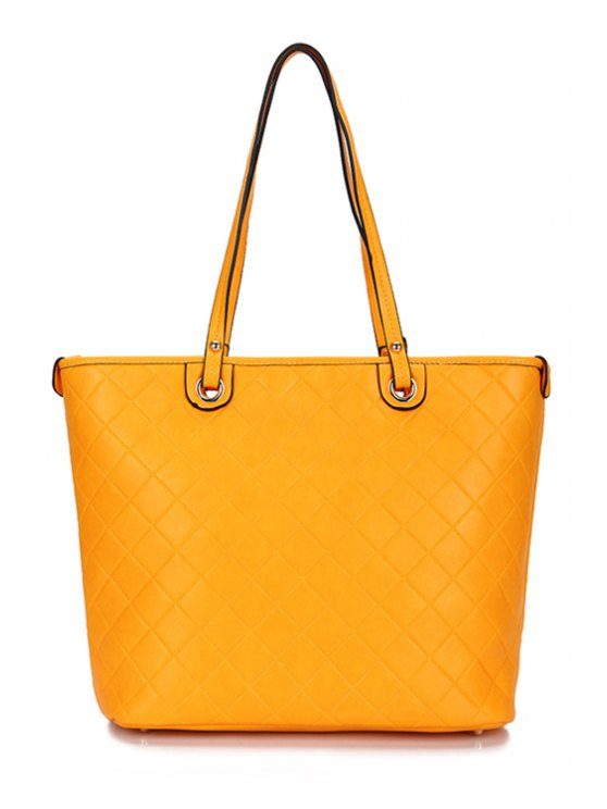 trendy Checked PU Leather Shoulder Bag - YELLOW
