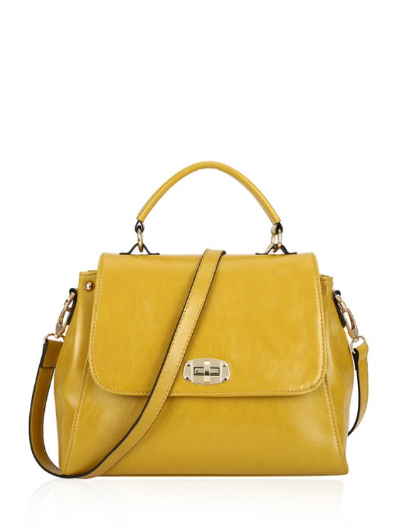 affordable Solid Color PU Leather Crossbody Bag - YELLOW
