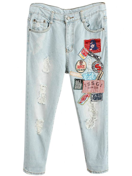 outfits Patch Design Broken Hole Jeans - LIGHT BLUE 26