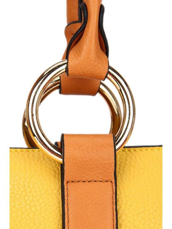 Color Block Rhings Shoulder Bag - WHITE  Mobile