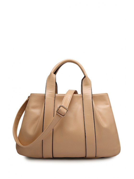 affordable PU Leather Solid Color Casual Tote Bag - APRICOT