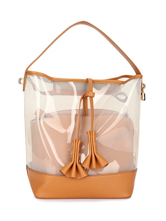 womens Ruffled Transparent Rivets Splicing Tote Bag - WHITE