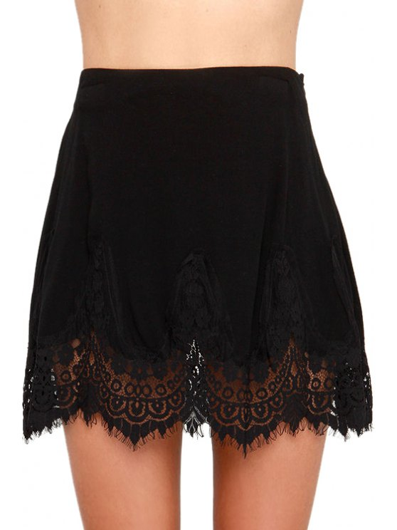 womens Black with Lace Skirt - BLACK S