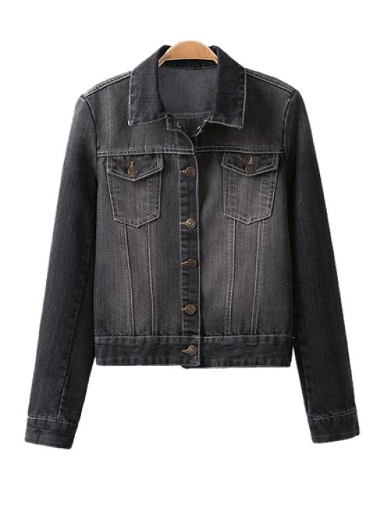 unique Long Sleeve Frayed Denim Jacket - GRAY S