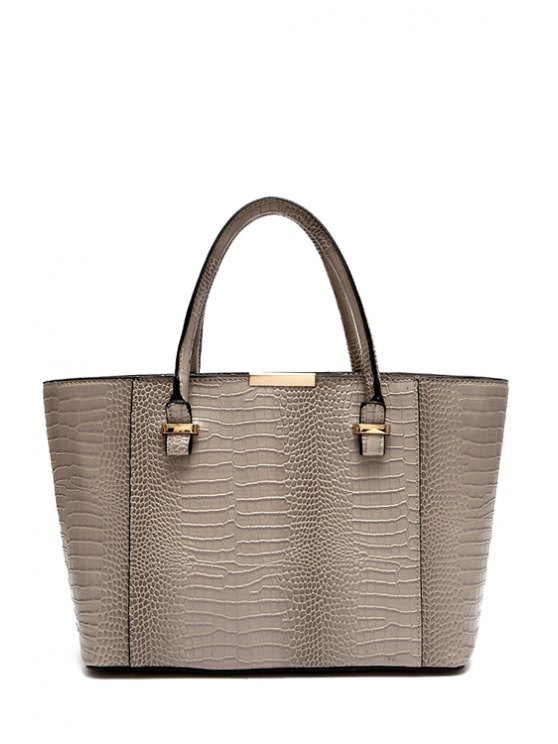 outfits Crocodile Print Metallic Tote Bag - GRAY