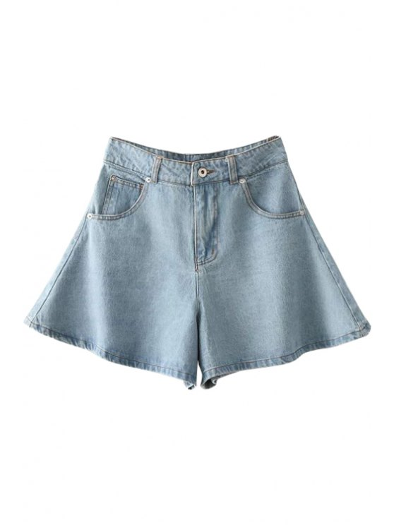 womens Solid Color Wide Leg Denim Shorts - LIGHT BLUE S