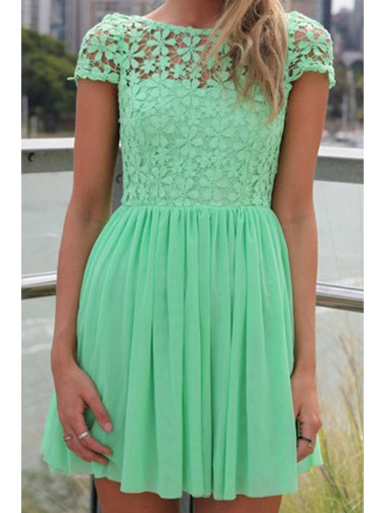 shop Short Sleeve Crochet Flower Spliced Dress - GREEN M