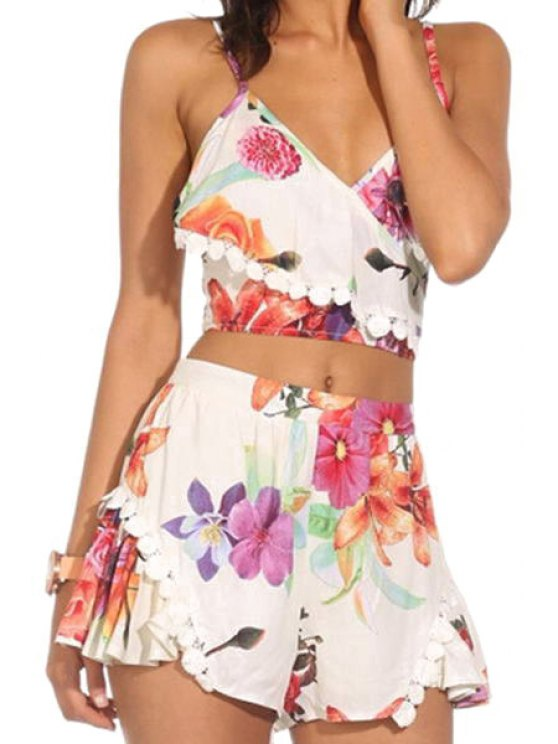 affordable Spaghetti Straps Floral Crop Top and Shorts Suit - JACINTH M