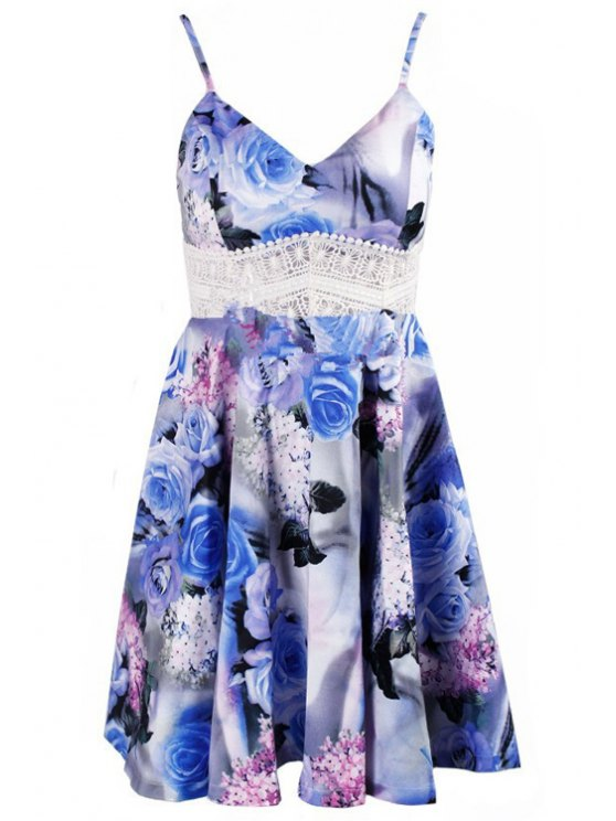fashion Spaghetti Straps Floral Spliced Dress - COLORMIX S
