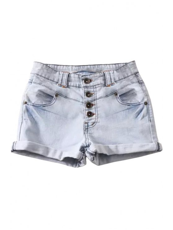 outfits Solid Color Single-Breasted Denim Shorts - LIGHT BLUE 34