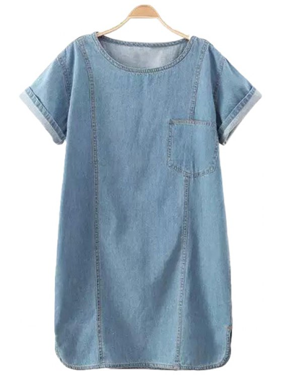 sale Solid Color Short Sleeve Straight Denim Dress - LIGHT BLUE M