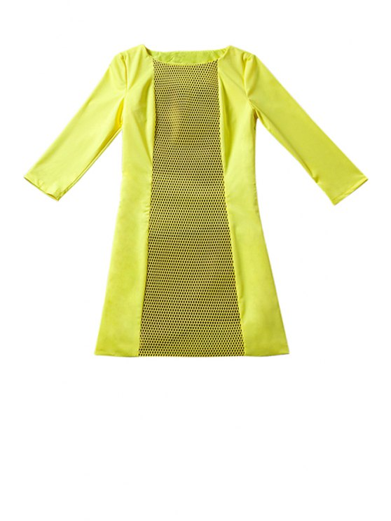 affordable 3/4 Sleeve Hollow Spliced Dress - YELLOW S