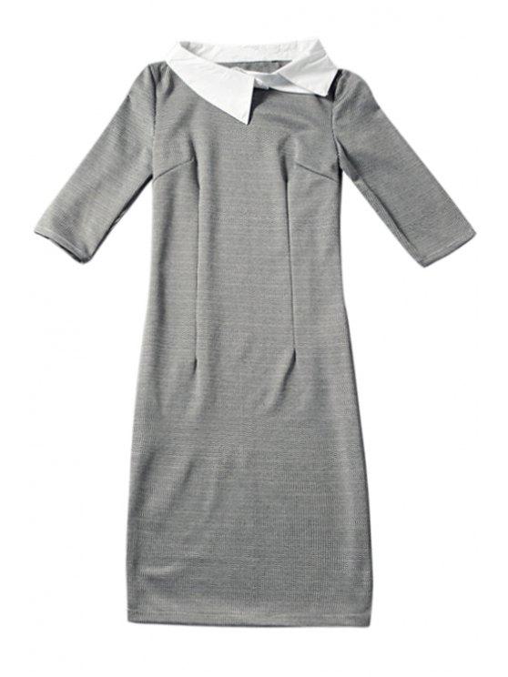 fashion Houndstooth Half Sleeve Dress - GRAY S