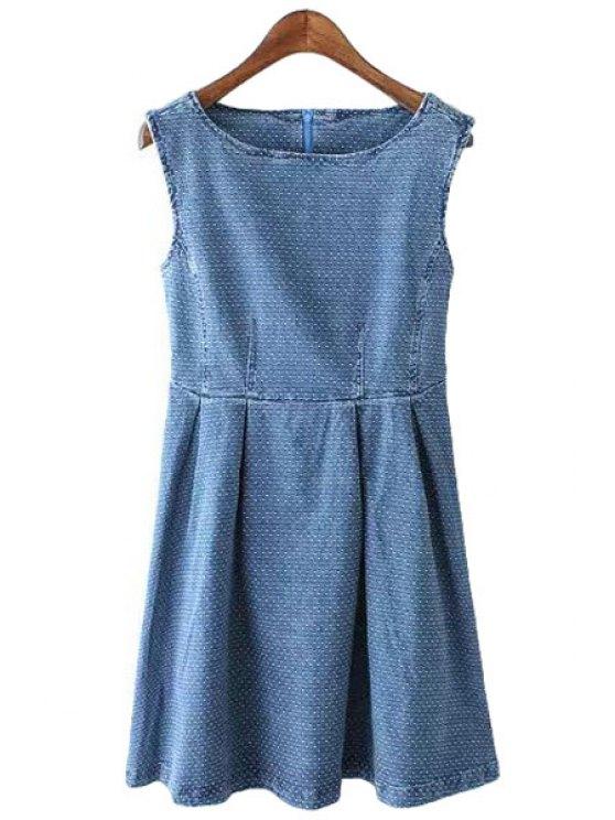 lady Polka Dot Denim Sleeveless Dress - PURPLISH BLUE S